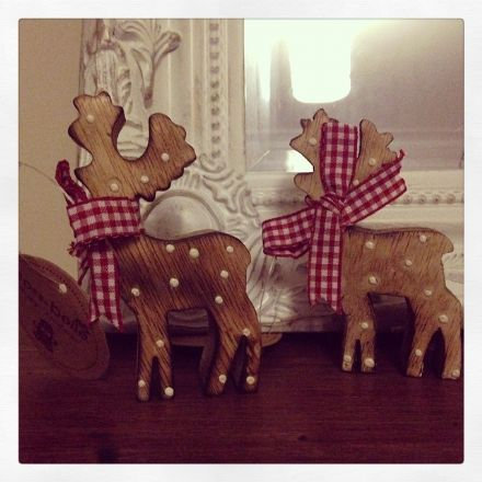 Set Of 2 Small Standing Polka Dot Reindeer